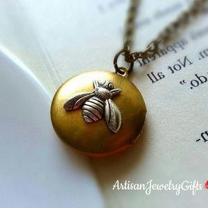 Brass Bee Locket Necklace